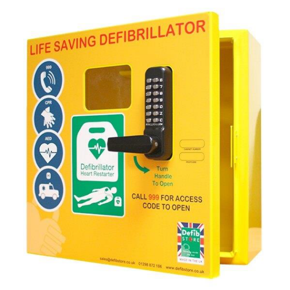 Picture of a defibrillator cabinet